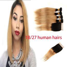 1b 27 Human Hair Extensions NZ - 1B 27 3Bundles + 4*4 lace closures Blonde Brazilian straight Bundles human Hair extensions Bundles Ombre Human Hair weaves Tone 1B 27
