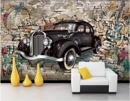 $enCountryForm.capitalKeyWord Australia - WDBH 3d photo wallpaper custom mural Vintage classic car through the wall Home decor living Room wallpaper for walls 3 d