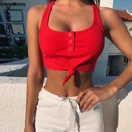 $enCountryForm.capitalKeyWord NZ - Cryptographic Solid Button Casual Sexy Tank Tops Streetwear Sleeveless Summer Top For Women 2019 Cropped Feminino Ribbed Knitted Y19042801