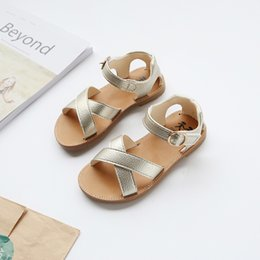 $enCountryForm.capitalKeyWord Australia - Summer Princess Girls Sandals Beach Shoes For Girls Dress Shoes Gold White Black Shoes 21-30 MX190727