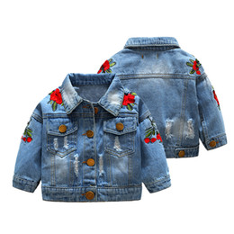 Chinese embroidered Coats online shopping - Retail winter baby girl jacket Flower embroidered denim jackets Coats Kids fashion luxury designer Brand Jean outdoor jacket Clothing