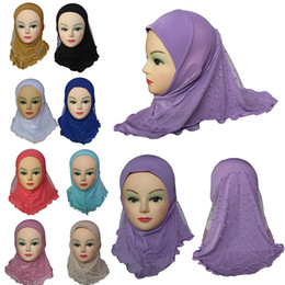 Chinese  Girls Kids Muslim Hijab Islamic Arab Scarf Shawls with Beautiful Lace Snow Pattern Fashion Accessories manufacturers