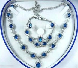 $enCountryForm.capitalKeyWord Australia - Women's Wedding Bridal Fashion Jewellery Women Set blue Zirconia Necklace Earring Ring Bracelet real silver -jewelry