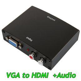 Hd Audio Pc Australia - Metal Box 1080p VGA to HDMI adapter Vga To Hdmi with audio Hd Hdtv Video Converter Box Adapter for Pc Laptop Dvd