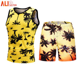 66732dbe41d2 Discount mens tank tops 3d print men - Alisister 2 Pieces Set Hawaiian Tank  Top Shorts