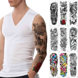 0488a63ce884d Big Large Full Arm Temporary Tattoo Wolf Dragon Tiger Fish Eagle Lion  Animal Decal Shoulder Sleeve Back Body Art Tattoo Sticker Designs Fake