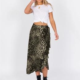 $enCountryForm.capitalKeyWord NZ - Irregular Hem Chic Beach Wrap Skirt Top Quality Fashion Women Leopard Print Elastic Waist Bandage Ruffles Hem Casual Skirt