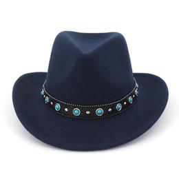 08104f46650 Unisex Men Women Floppy Trilby Wool Felt Jazz Fedora Hats Wide Brim Cowboy  Hat Panama Sombrero with Gem Leather Band