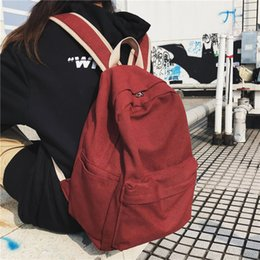 casual canvas women backpack red NZ - DCIMOR Women Canvas Backpack Female Large capacity travel bag Student School Bag for Teenager Girls Shoulder Bags Ladies Mochila V191114