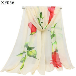 one scarf Australia - Small Silk Scarf Chiffon Ma'am Scarf Long A Piece Of Cloth One Branch Flower Rose Thin Silk Scarf