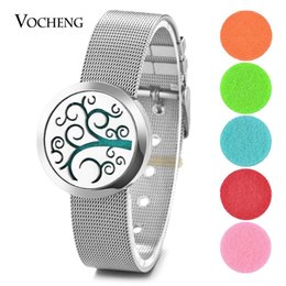 tree life watches UK - Aroma Diffuser Locket Bracelet Perfume 316L Stainless Steel Magnetic Watch Band Tree of Life without Felt Pads VA-292