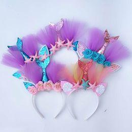 $enCountryForm.capitalKeyWord Australia - Mermaid kids Hair Sticks glisten lace girls designer headband Beach Party kids Headbands designer headbands designer hair accessories A4648
