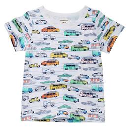 Children White Tees Australia - Summer Baby Girl Tops And Tees Children Kids Boy Girl Short Sleeve Cartoon Car Print Top T-shirt Baby Girl Boy Clothes JE13
