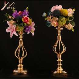 heart decoration candle UK - Gold Candle Holder Heart patter Candle Stand Wedding Table Centerpiece Event Road Lead Flower Rack 10 pcs   lot