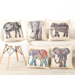 $enCountryForm.capitalKeyWord Australia - Hot Sale Elephant Cotton linen Pillow Case For office bedroom chair seat cushion 18x18 inches Free Shipping