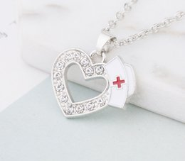 Silver Charm Medical Australia - New Fashion Medical Jewelry Nurse Cap Charms Crystal Love Heart Pendant Necklaces White Enamel Red Cross Sign Medicine School Students-P