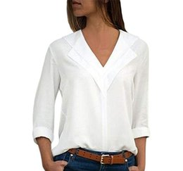 Black holiday Blouses online shopping - Fashion Pure Color Women Blouses Spring Designer V Neck Shirts Casual Holiday Ladies Panelled Blouse