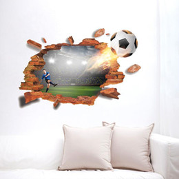 broken tvs Australia - Football broken wall 3D simulation personalized creative wall paste sofa bedroom background TV wall PVC decoration stickers