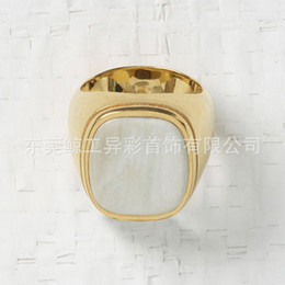 Ring eye online shopping - 2019 ins cold air new aristocracy exaggerated square blue diamond shell tiger eye golden glossy ring