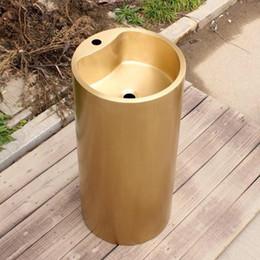 $enCountryForm.capitalKeyWord NZ - Brass bathroom Pedestal bathroom Sink smooth surface sink brass wash basin Round bathroom sink