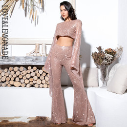long jumpsuits xs Australia - Love&lemonade Sexy Rose Gold Cut Out Open Back Trumpet Shape Glitter Glue Bead Material Long Sleeve Jumpsuit Lm81629 MX190726