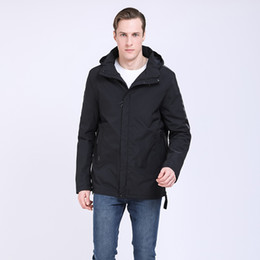 Discount russian parka - 2019 Men Jacket Spring Cotton Padded Coat High Quality Mens Casual Coats Hooded Men Parka Detachable Hood Outwear Russia