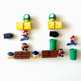 Dix styles Super Mario Mario aimants pour réfrigérateur 3D stéréo ensemble Mario décoration aimant japonais créatif mignon V109 en Solde