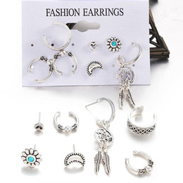 Women Fashion Jewelry Watch Set NZ - Fashion 7Pcs Women Bohemia Retro Style Sun Moon Leaves Push Back Earrings Set Fashion New Jewelry Watch