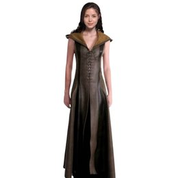 $enCountryForm.capitalKeyWord Australia - Women Fashion Sexy Slim Lace Up Leather Medieval Ranger Long Dress Adult Coats Cosplay Disfraz Mujer Costume Halloween SH190908