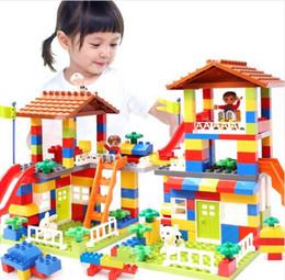 Large Plastic Blocks Australia - DIY colorful City house roof large building blocks particles Castle educational toy for children Compatible LegoINGlys duplo slide
