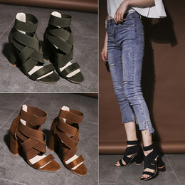 HigH Heeled sHoes for ladies online shopping - Overlapping Bandage Sandals For Lady Summer Hollowing Out Coarse High Heeled Shoes Black Brown Green Rome Shoe sl D1