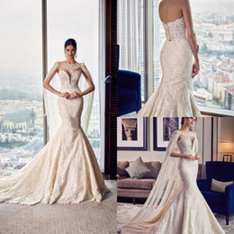 $enCountryForm.capitalKeyWord NZ - Mermaid Wedding Dresses With Cape Wrap Sweetheart Lace Up Back Applique Sweep Train Luxury Country Wedding Gowns Custom Made Bridal Dress