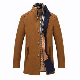 72080fa3d Men's Wool Coat Winter Long Thick Warm Woolen Coat With Detachable Scarf  Business Casual Slim Fit Trench Jacket Peacoat Overcoat