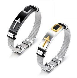 $enCountryForm.capitalKeyWord Australia - Fashion Unisex Brand Name Gold Black 316L Stainless Steel Cross Bracelet With Punk Wedding Jewelry Gift