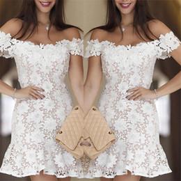 $enCountryForm.capitalKeyWord Australia - Elegant Graceful White Lace Short Party Dresses Off Shoulder Solid Pattern Mini Girl Dress FZ-070