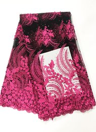 Chinese  New Style Nail Bead Hot Drill Lace Fabric African Lace Voile Fabrics for Wedding Dress Party BL70 manufacturers