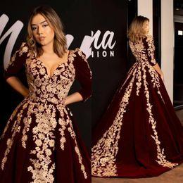 Black evening aBaya online shopping - Kaftan Caftan Burgundy Velvet Prom Dresses Evening Dress Half Sleeve Gold Luxury Lace Applique Arabic Dubai Abaya Occasion Celebrity Gowns