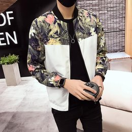xl floral bomber jacket Australia - Jacket Men 2019 Spring New Coats Mens Casual Floral Jackets Fashion Patchwork Slim Fit Long Sleeve Bomber Jacket Windbreaker 5XL