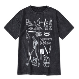 Vintage T Shirts Men Australia - New Casual Summer Graffiti Pattern Dropped Shoulder Sleeve Half Sleeves Vintage Washed Old O-neck cotton Men T Shirt Black