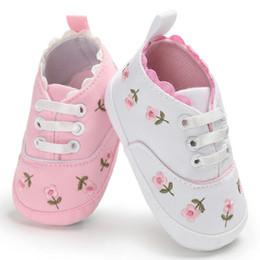 $enCountryForm.capitalKeyWord Australia - Summer Baby Infant Girl Soft Sole Crib Toddler Canvas Cute Flower Sneaker Shoes