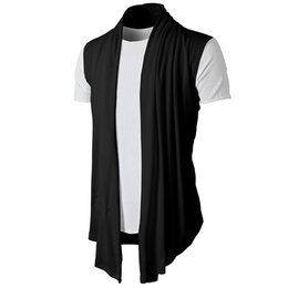 sleeveless cardigan vest UK - New Men Hot Selling Promotion summer Jacket Coat Shawl fashion Cardigan Sleeveless Waistcoat Vest Top drop ship clothes