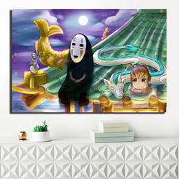 Painting Faces Australia - No Face Miyazaki Chihiro Spirited Away Poster Anine Painting On Canvas Bedroom Wall Art Decoration Pictures Home Kids Room Decor