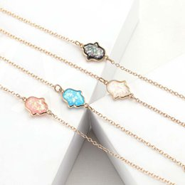 Black Hand Pendant NZ - Fashion OPAL Fatima hand pendant necklace Black White Blue Pink Adjustable Size Charm Gold Plated Alloy necklace Mary's Hand Clavicle chain
