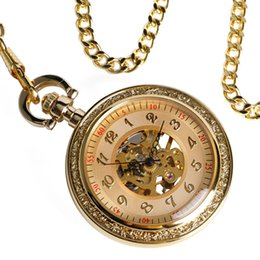 $enCountryForm.capitalKeyWord Australia - Luxury Gold Gear Open Face Skeleton Mechanical Hand Winding Pocket Watch Antique Pendant With Chain Men Women Relogio De Bolso