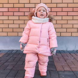 Discount children fur parka - IYEAL Russia Winter Children Clothing Baby Ski Suit Parka Down Jacket + Overalls Girls Clothes Sets Thick Warm Kids Oute