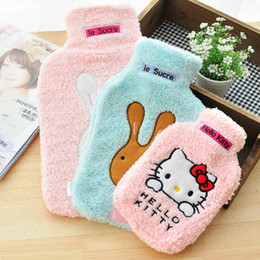 chinese hot water bag Australia - Cartoon rabbit warm plush water injection rubber explosion-proof hot water bottle hand warmer warm water bag wedding gift