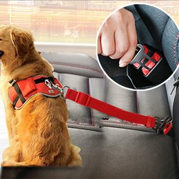 Levers Wholesale Australia - Vehicle Car Pet Dog Seat Belt Puppy Car Seat belt Harness Lead Clip Pet Dog Supplies Safety Lever Auto Traction Products