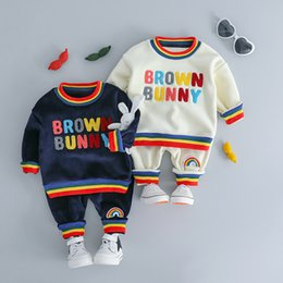 $enCountryForm.capitalKeyWord Australia - HYLKIDHUOSE Baby Girl Boy Clothing Sets 2018 Autumn Winter Plush Infant Clothes Suits Rainbow Color Children Kids Casual Coatume