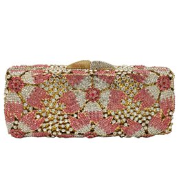 Chinese  Dgrain Hollow Out Rose Flower Pink Crystal Women Evening Clutch Minaudiere Bag Wedding Cocktail Party Handbag Purse Wedding Clutch manufacturers
