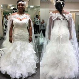 Wholesale plus size lace shawl resale online - White African Mermaid Wedding Dresses Off Shoulder Plus Size Lace Bride Dress with Long Bridal Cape Shawl